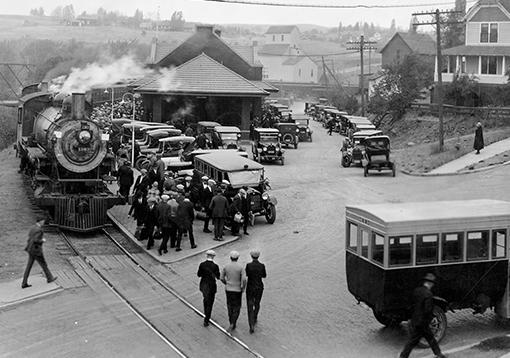 Historic photo of the Pullman Depot.